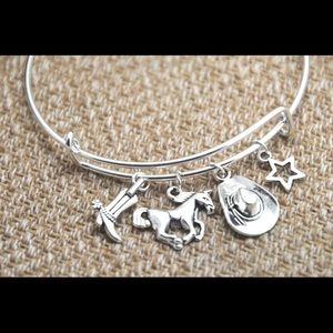 Jewelry - cowgirl boot Horse hat star charm bangle bracelet